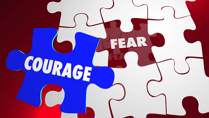 Courage Vs Fear Puzzle Pieces Hole Bravery Afraid | Shutterstock HD Video #14133233
