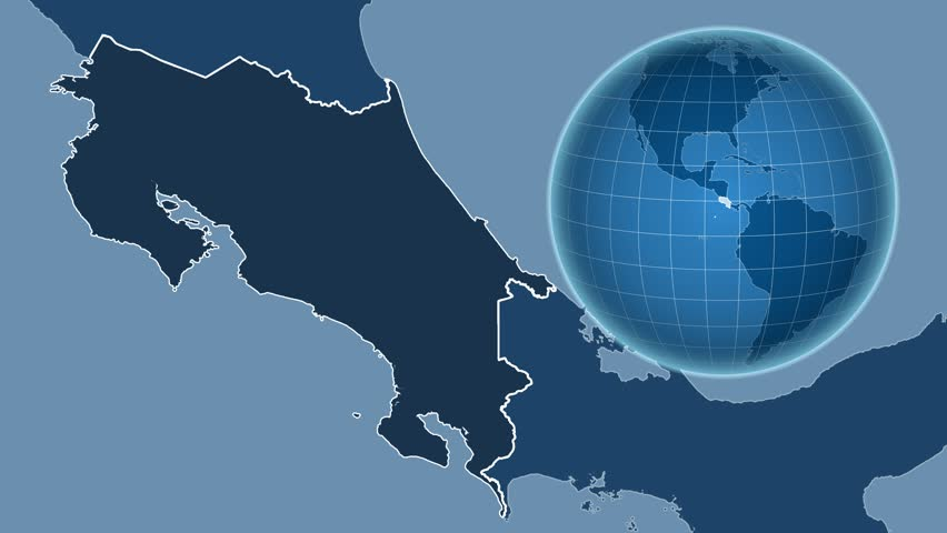 Costa Rica Shape Animated On The Admin Map Of The Globe 4k Stock Footage Clip