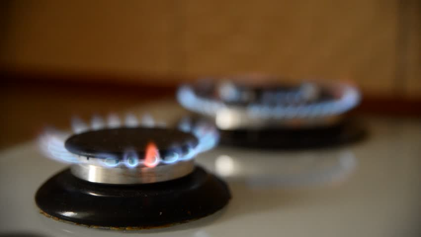 blue flame of gas on the stove