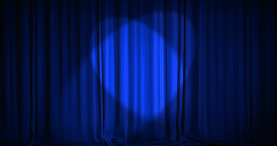 A blue velvet curtain opening with spotlights in a movie theater. An alpha matte is included as well. High quality render in 4K format. #14162873