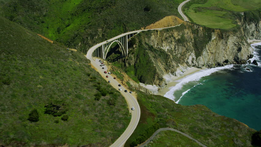 4k / Ultra HD version Aerial view of bridge spanning Californian coast along the Big Sur. Shot on RED Epic | Shutterstock HD Video #14167685
