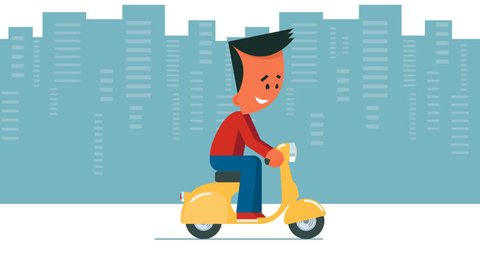 Man riding a bike. Cartoon young man riding a scooter. Looped animation. Man on cityscape background, man on transparent background and moving background versions. PNG+Alpha.