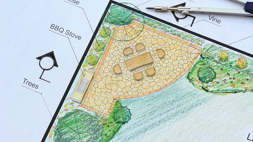 landscape architect design l shape garden plan stock footage video