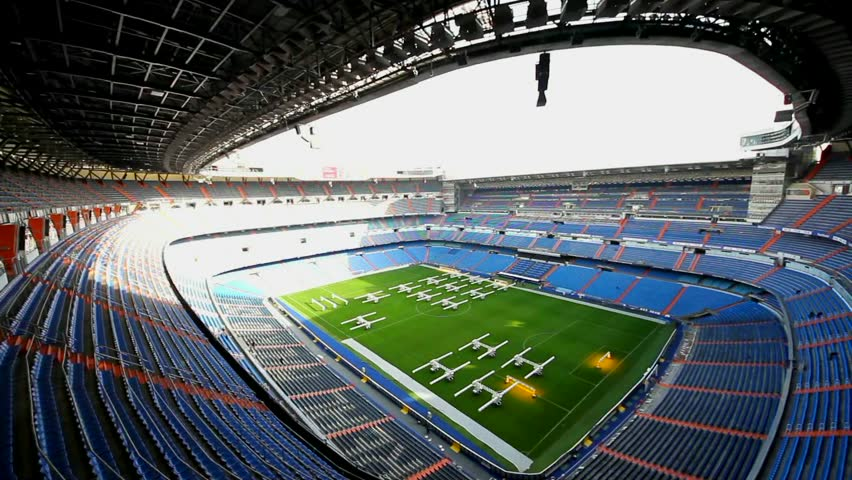 MADRID, SPAIN-AUGUST 18: Santiago Bernabeu Stadium of Real Madrid on August 18, 2014 in Madrid, Spain. Real Madrid C.F. was established in 1902.
