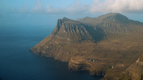 Landscape shot of Faroes Island from a plane