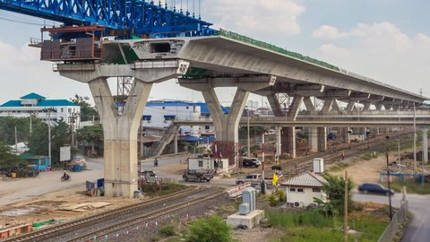 Time Lapse Expressway Construction Site (zoom out)