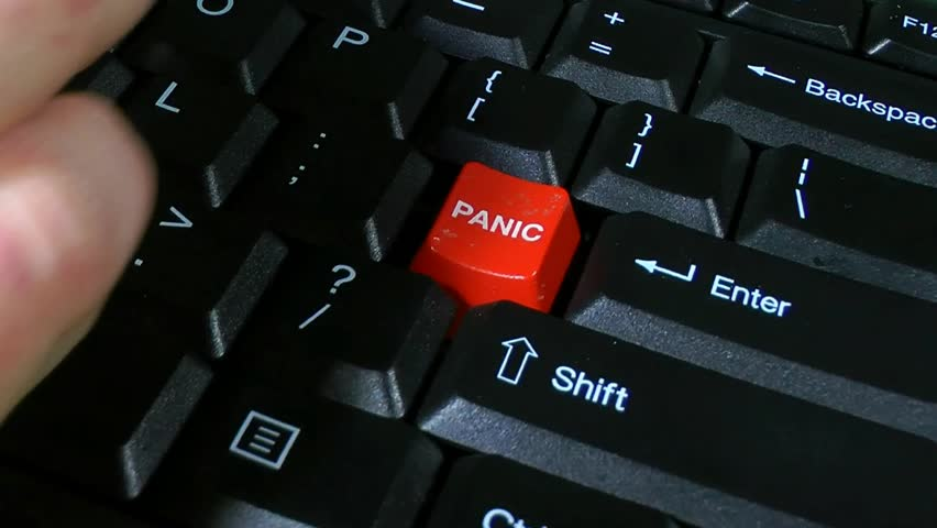 Panic Button Slow Push In. Stressed business man or woman typing on computer hits the panic button on the keyboard many times. Progressive scan. | Shutterstock HD Video #14308093