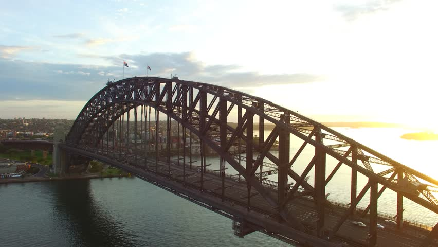 Sydney Harbour Bridge in Sydney at sunrise, aerial view