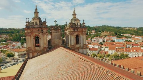 Alcobaca Monastery Community Roof Mediaeval Roman Catholic Architecture Bell Tower Portugal Drone Footage City Porto Famous Gothic History Europe Travel