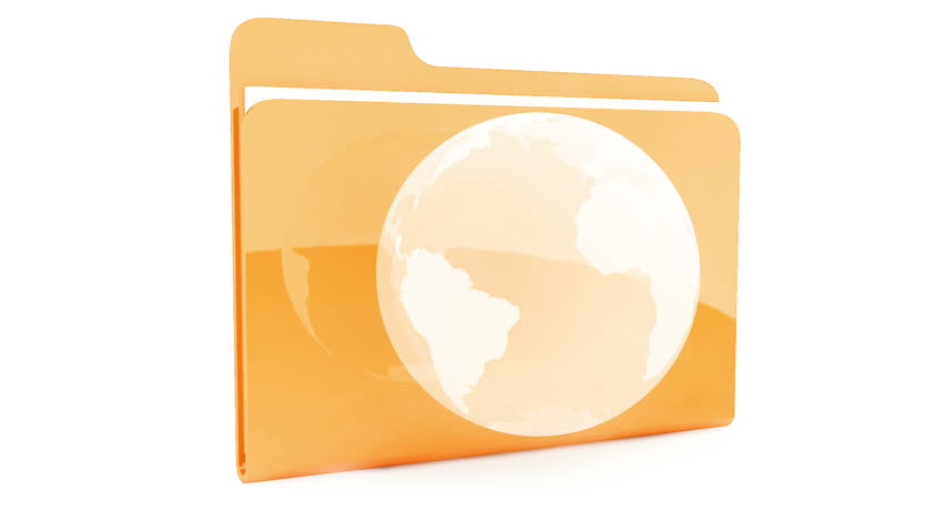 Folder with Earth icon on white background | Shutterstock HD Video #1433203