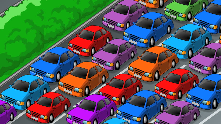 Cars Moving Slowly In Traffic Jam On The Highway Animated Cartoon