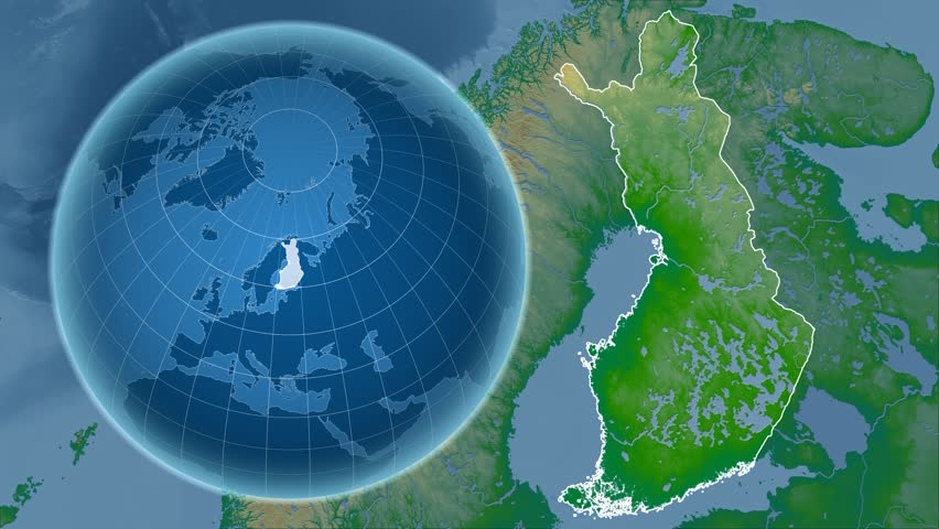Finland shape animated on the physical map of the globe | Shutterstock HD Video #14355613