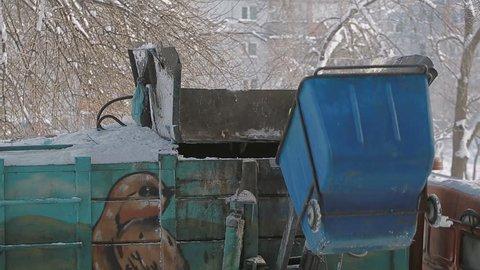 Trash collection vehicle To load garbage. Garbage truck, crane work. Pneumatics.
