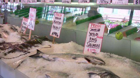 Fresh seafood for sale at Pike Place Market in Seattle, Washington.