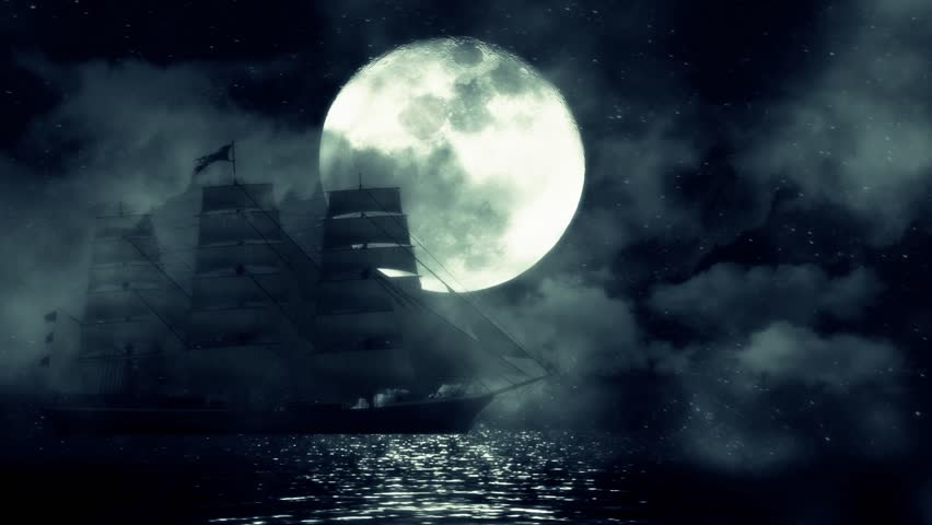 A Sailing Ship On Full Moon Night Moves Slow Between The Waves And Fog