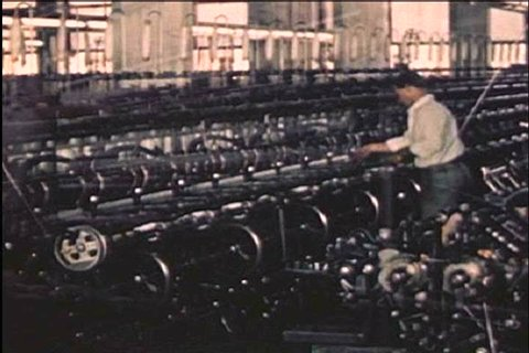CIRCA 1940s - Hosiery is made with higher control speed spindles in a textile factory in the 1940s.