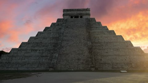 chichen itza mayan ruins kukulcan temple el castillo at sunrise dolly movement no people