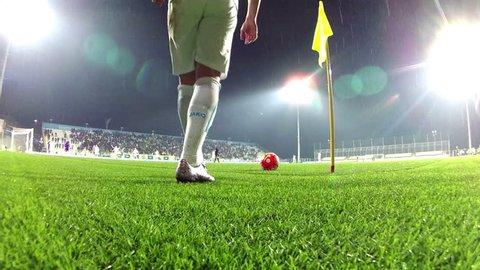RIJEKA, CROATIA - February 12, 2016: Soccer player takes a corner kick during the CROATIAN FOOTBALL LEAGUE match between Rijeka and Lokomotiva at HNK Rijeka Stadium