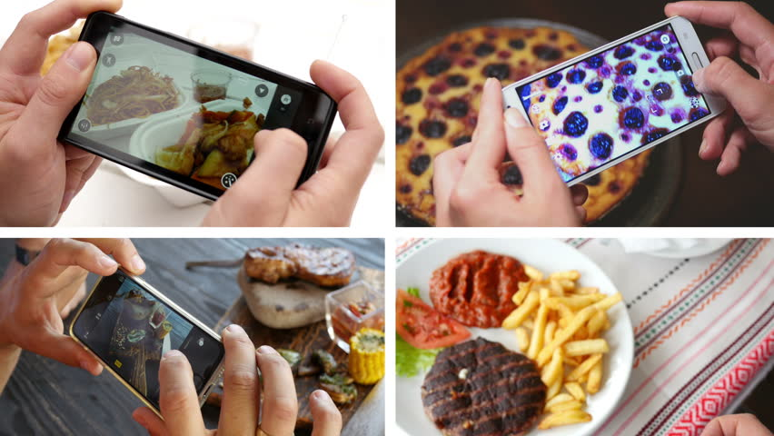 Collage of taking a photo picture of food in a restaurant with mobile phone camera for social network | Shutterstock HD Video #14603659