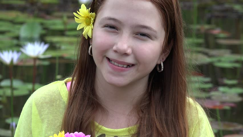 Happy Teen Girl At Pond Stock Footage Video 14244323  Shutterstock-3999