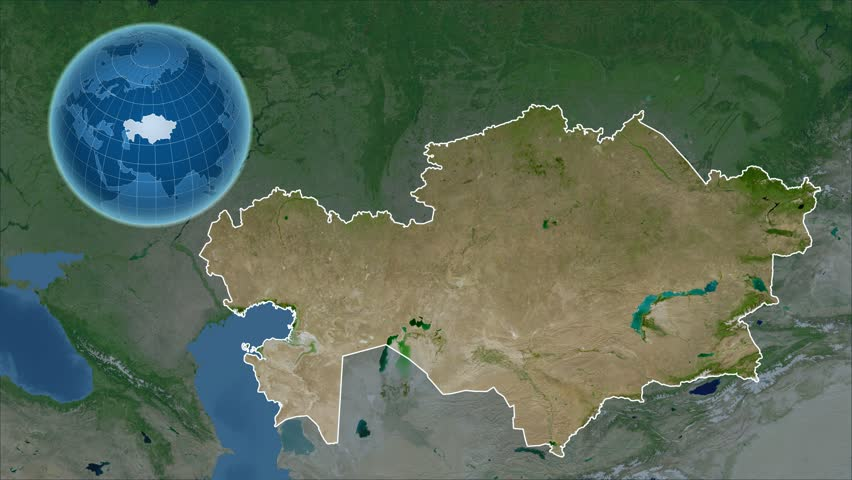 Kazakhstan Shape Animated On The Relief Map Of The Globe Stock - Kazakhstan map hd