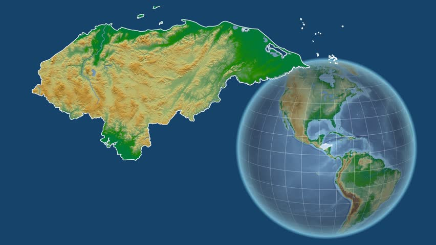 Jamaica Shape Animated On The Physical Map Of The Globe Stock - Jamaica physical map