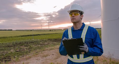 Supervisor Working Field Agriculture Windmill Scrutiny Examining Farm Protective Uniform Windpower Development Landscape Renewable Energy Sustainability Technical Manager Engineering