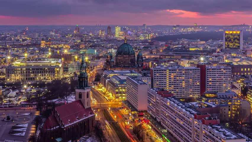 Berlin Skyline City Timelapse with Traffic on Street at evening near Alexanderplatz. Timelapse sequence.