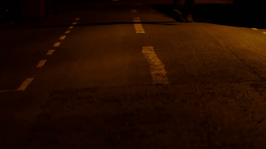 Lonely baker goes to work in the middle of the night in a desert way, walking | Shutterstock HD Video #14790703