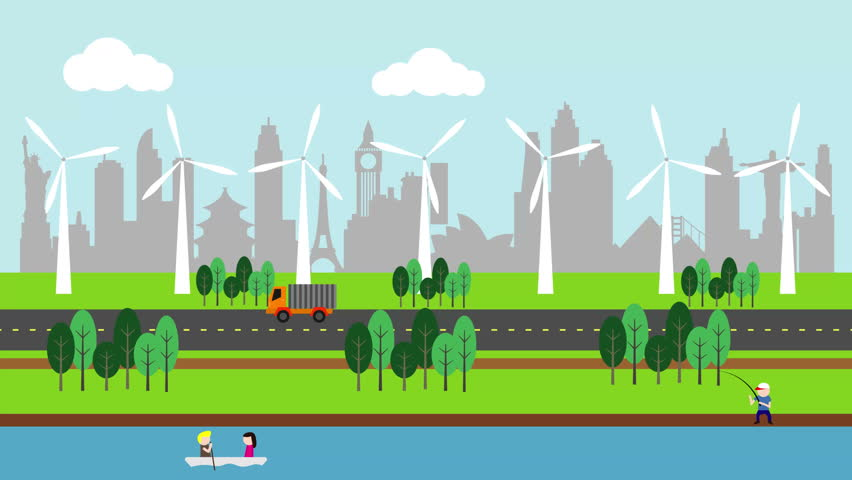 Animated Green Buildings : วิดีโอสต็อกของ silhouette of famous building and city