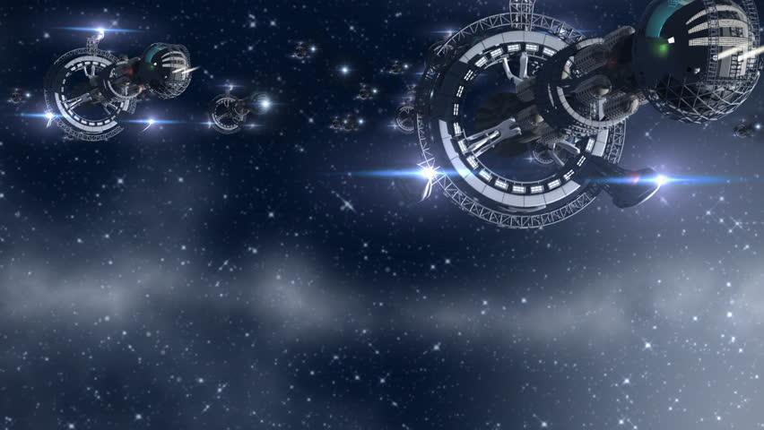 Alien invasion with futuristic 3d spaceships in interstellar deep space travel