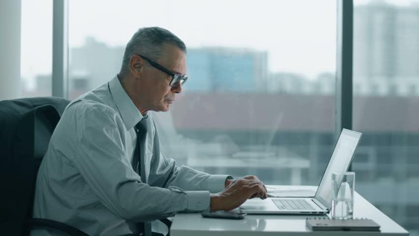 Elderly businessman working with computer in modern office | Shutterstock HD Video #14813083