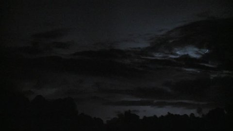 Spectacular lightning strikes in the night sky.