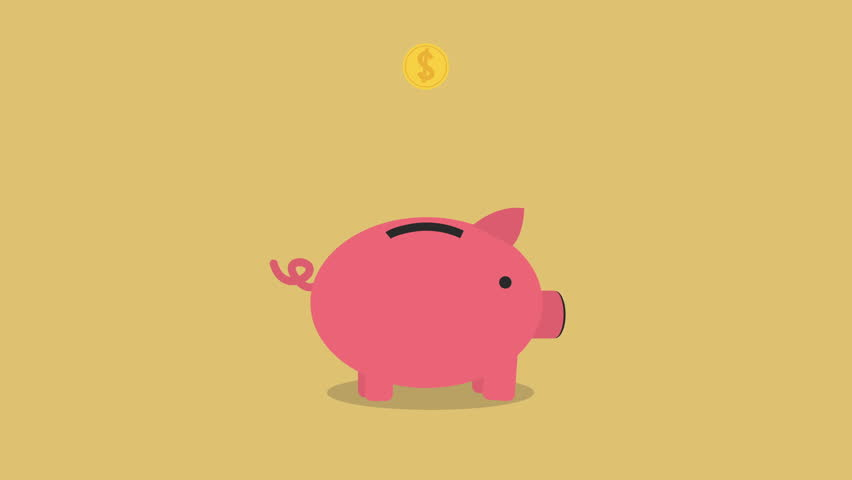 Golden coins falling into a cute pink Piggy Bank Loop with space for your text. nice animation of saving money concept, passive income concept. putting coins in pink piggy bank. piggy bank gets filled | Shutterstock HD Video #14846044
