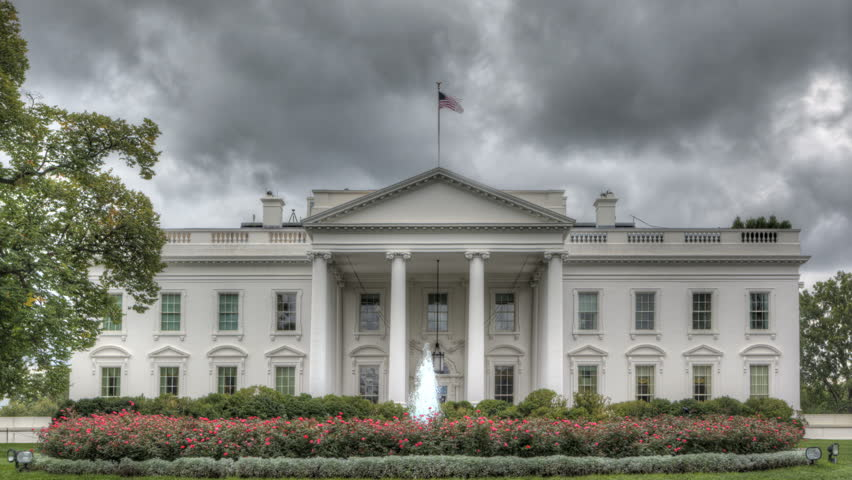 The White House with dark clouds in HDR