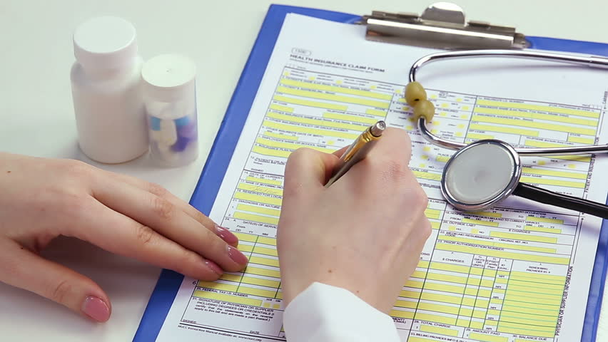 Therapist completing health insurance claim form, payment for medical benefits. Clinic worker filling in patient information template, expensive medication, registration. Doctor working in hospital