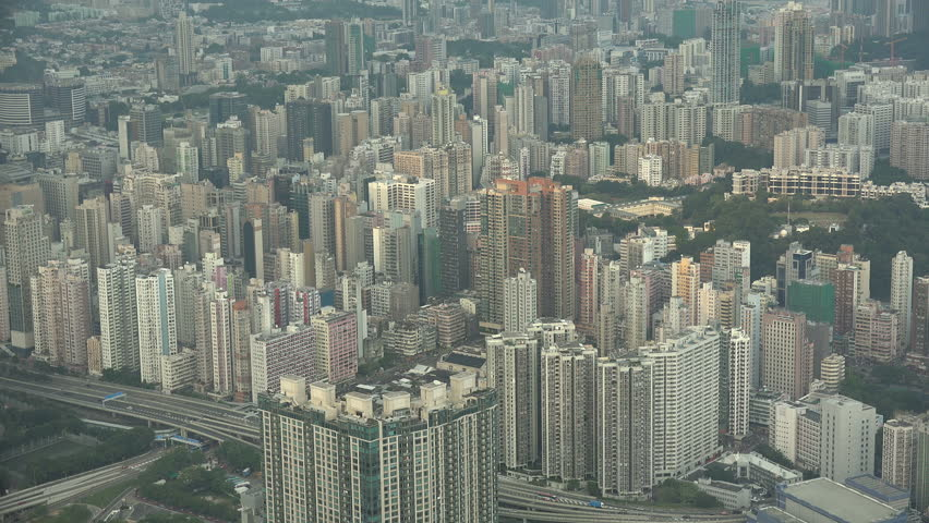 HONG KONG   21 OCTOBER 2015: View Towards Residential Apartment Buildings  In The Dense Kowloon
