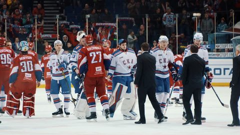 Yaroslavl, Russia, February 29 2016: KHL Playoff Lokomotiv - SKA after game