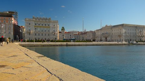 TRIESTE, ITALY. View on the Piazza Unita Italia in the center of Trieste city, Italy. Trieste is a capital of the Italy region Friuli Venezia Guilia