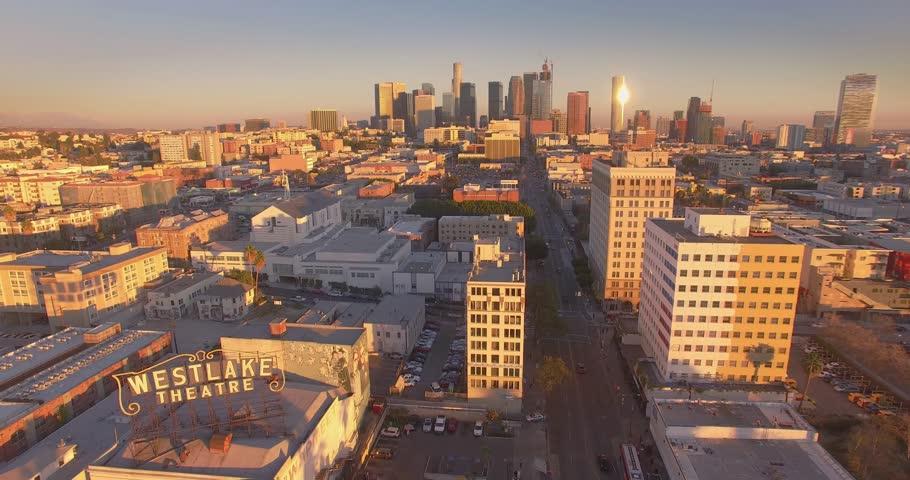 LOS ANGELES - Circa 2015: Aerial view of MacArthur Park in the Westlake neighborhood of Los Angeles. 4K UHD. #14914222