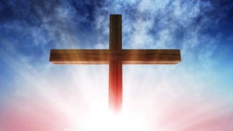 Calvary cross of christ and sun rising sky