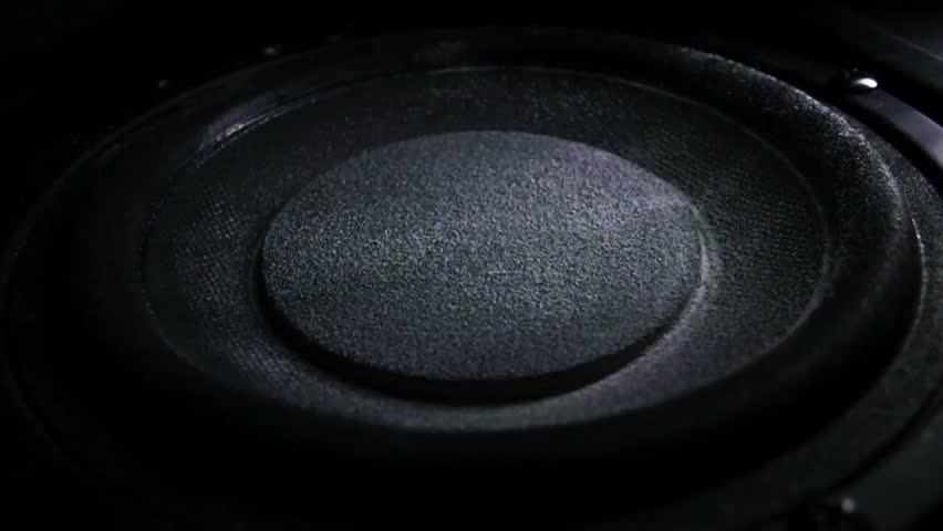 Bass loud speaker throws dust in the air. Super slow motion. Equalizer concept | Shutterstock HD Video #14946253