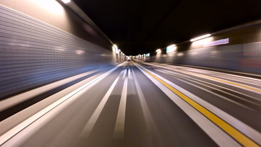 Hyperlapse through the new tunnels of Tokyo Metropolitan Highway to downtown city lights. | Shutterstock HD Video #14964103