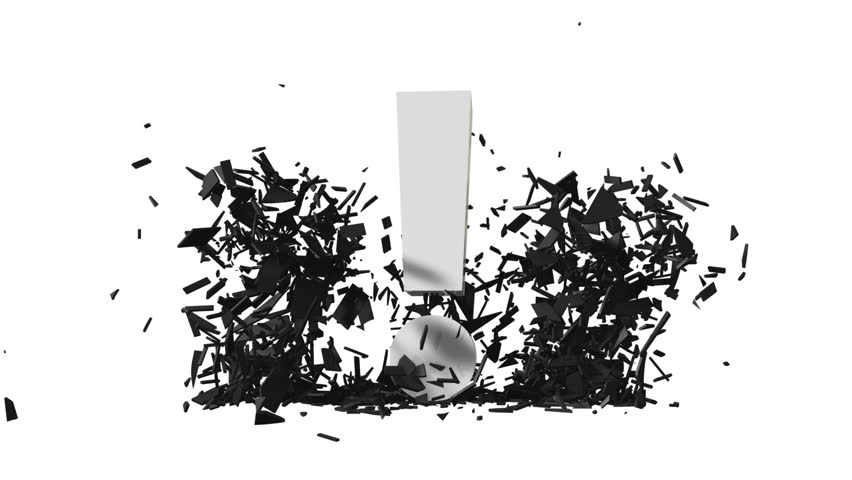 falling exclamation mark smashed question marks into pieces (FULL HD)