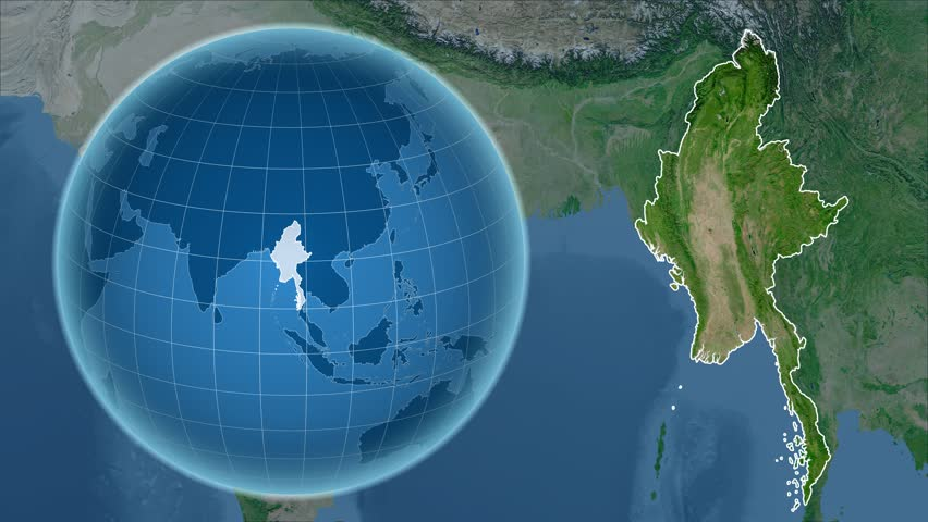Myanmar Shape Animated On The Admin Map Of The Globe Stock Footage