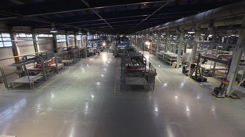 Ceramic tiles manufacturing , Ceramics Plant, production line, AGV transports products, Electrical Automated Guided Vehicles Platform, Automatic stacker, AGV, modern plant, Industrial interior,
