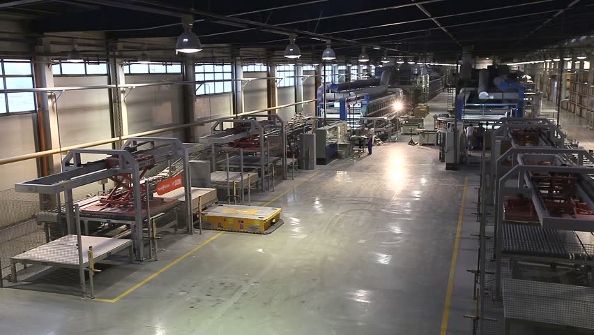 Stock video of ceramic tiles manufacturing , ceramics plant ...