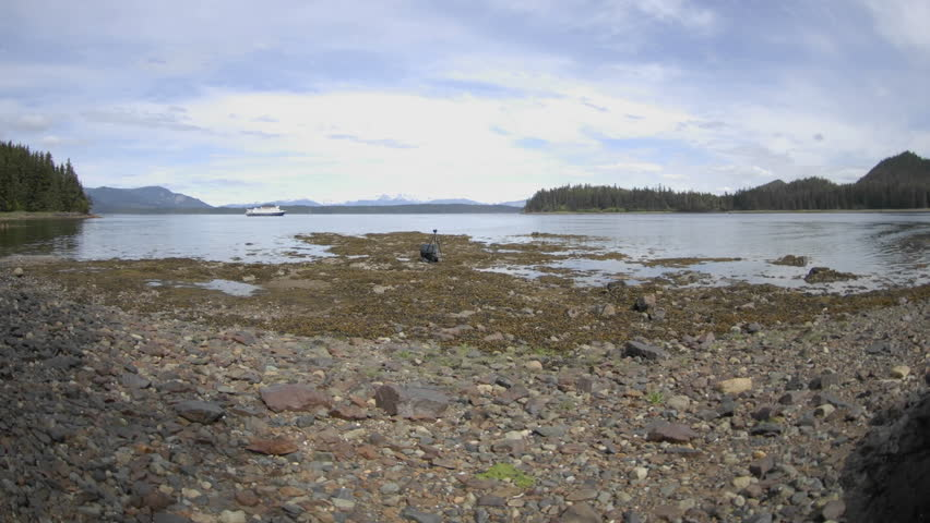 CHICHAGOF ISLAND, AK - CIRCA 2009: Time lapse of the tide rising in Pavlof Harbor circa 2009 in Chichagof Island in Southeast, Alaska.