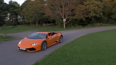 Aerial footage of Lamborghini Aventador LP 700-4 on test drive at Strokestown Park, Roscommon Ireland on the 29th Sept 2015.