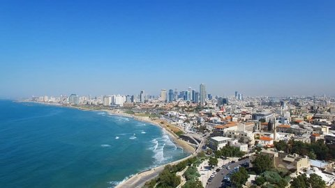 Aerial footage of the old city of Jaffa and tel Aviv
